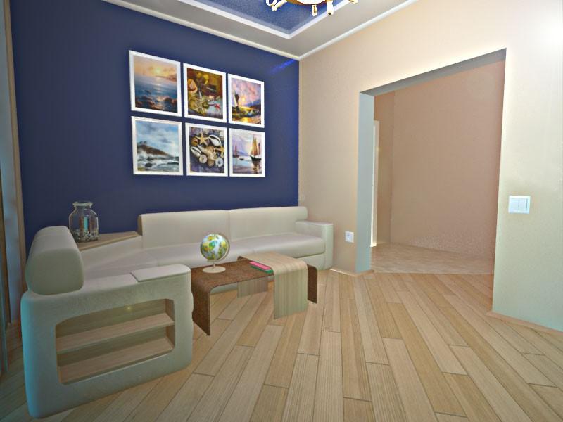 visualización 3D del proyecto en el sala de estar 3d max render vray chance_odessa