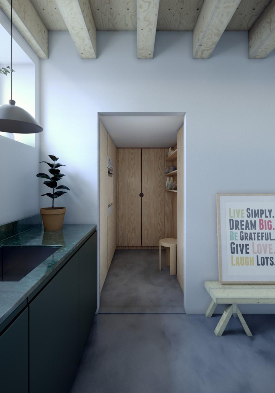 Duplex apartment in Stockholm in 3d max corona render image