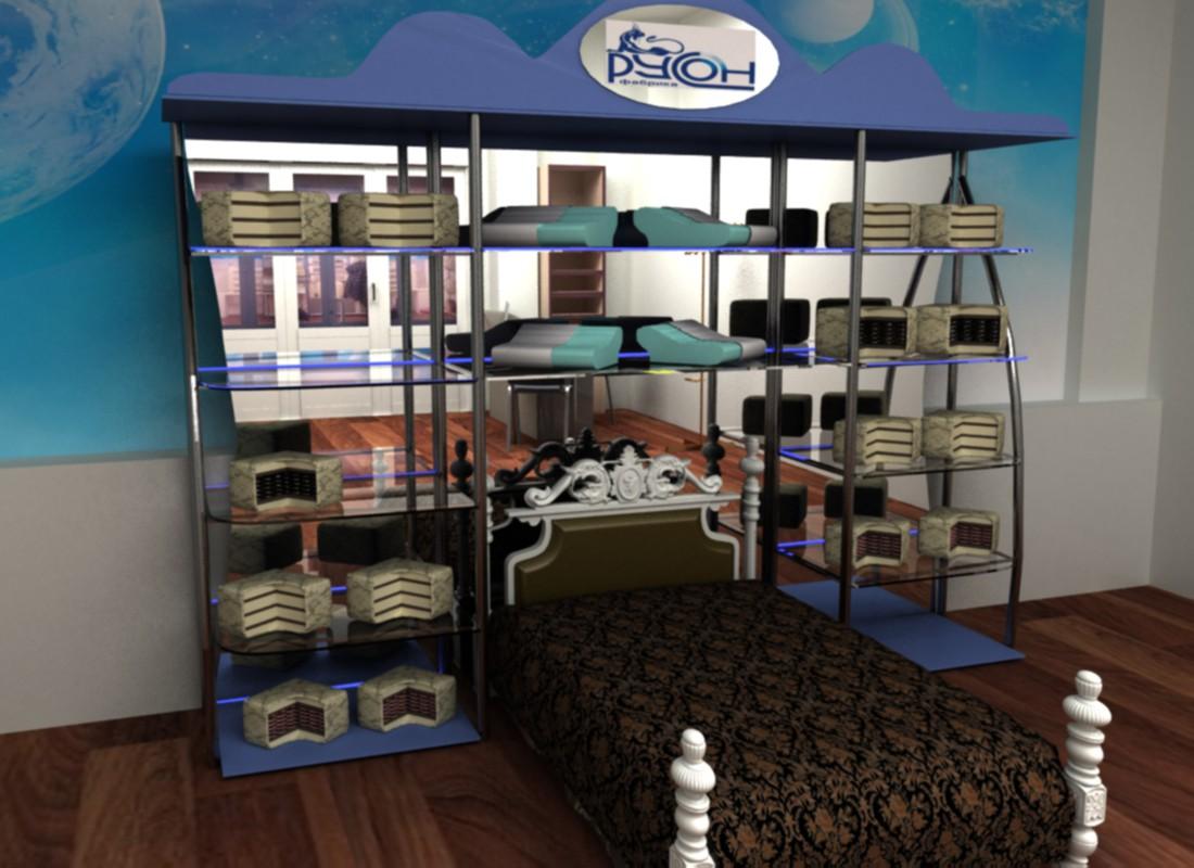 visualización 3D del proyecto en el escaparate comercial de colchones 3d max render vray Гульнара