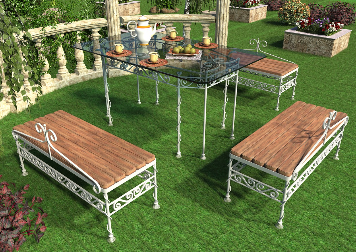 Wrought iron furniture in the exterior in Maya vray image
