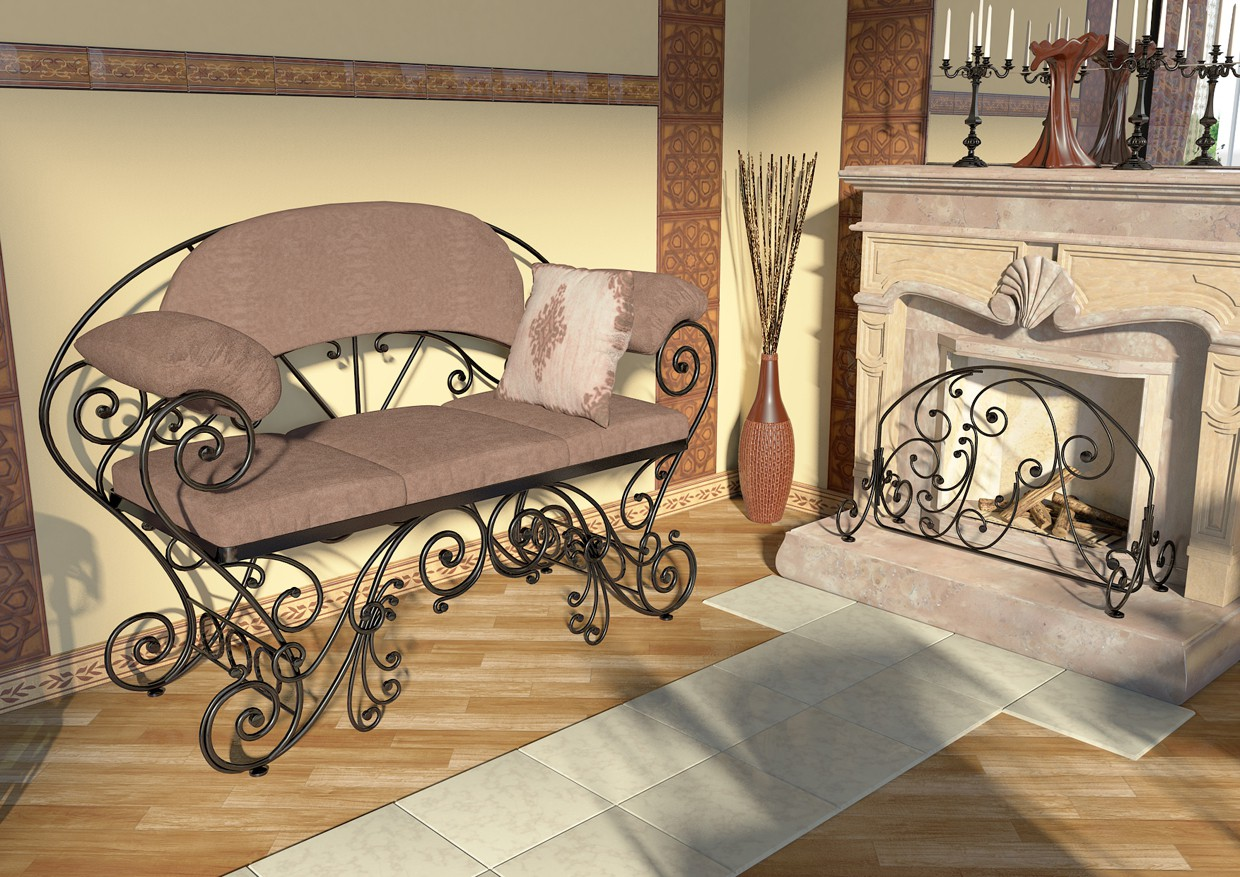Wrought iron furniture in the interior in Maya mental ray image