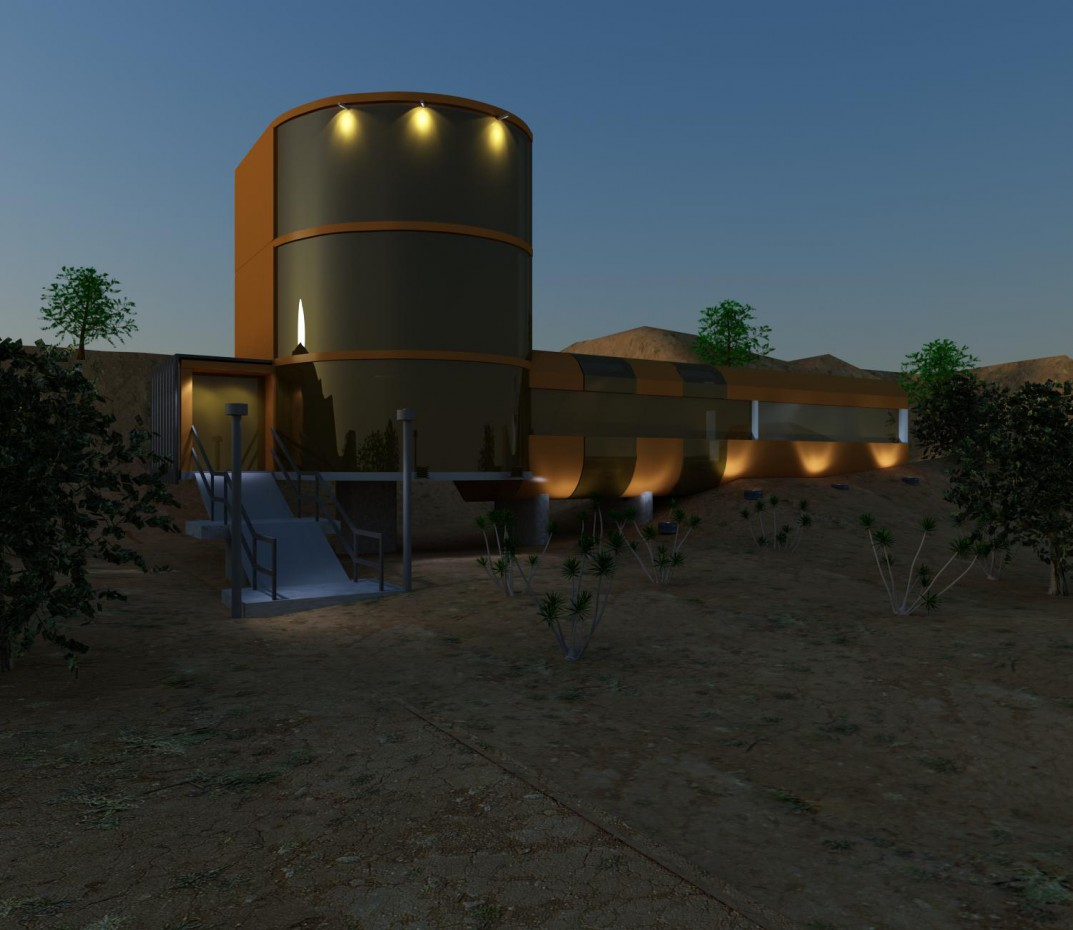 Bunker at night in 3d max vray 2.0 image
