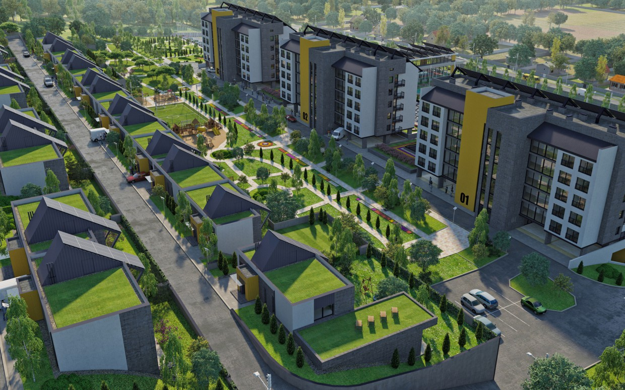 "Residential complex ""DAVIS"" Sports Centre. Townhouses. in 3d max corona render image"