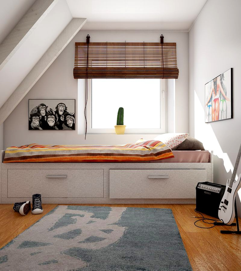 Room under the roof in 3d max vray 3.0 image