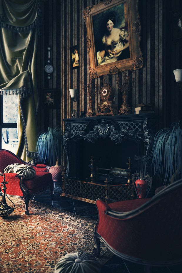 Fireplace. Victorian interior in 3d max vray image