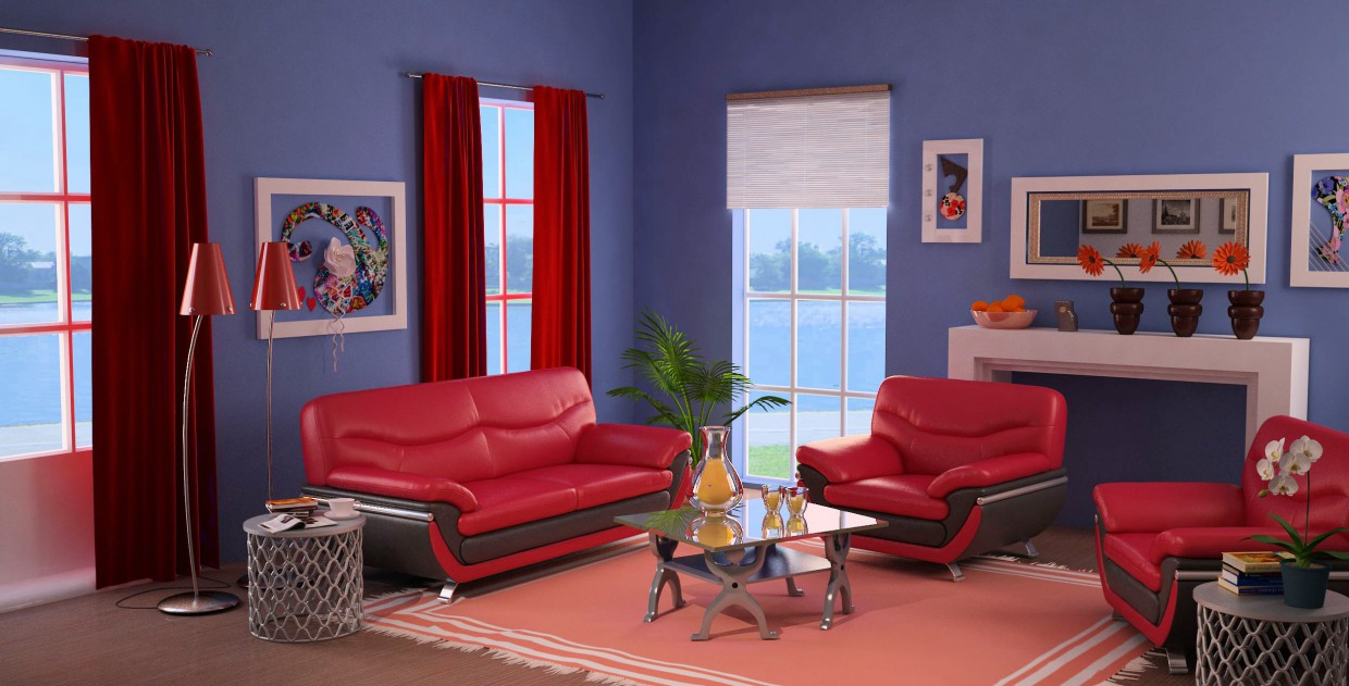 blue-red in 3d max vray image