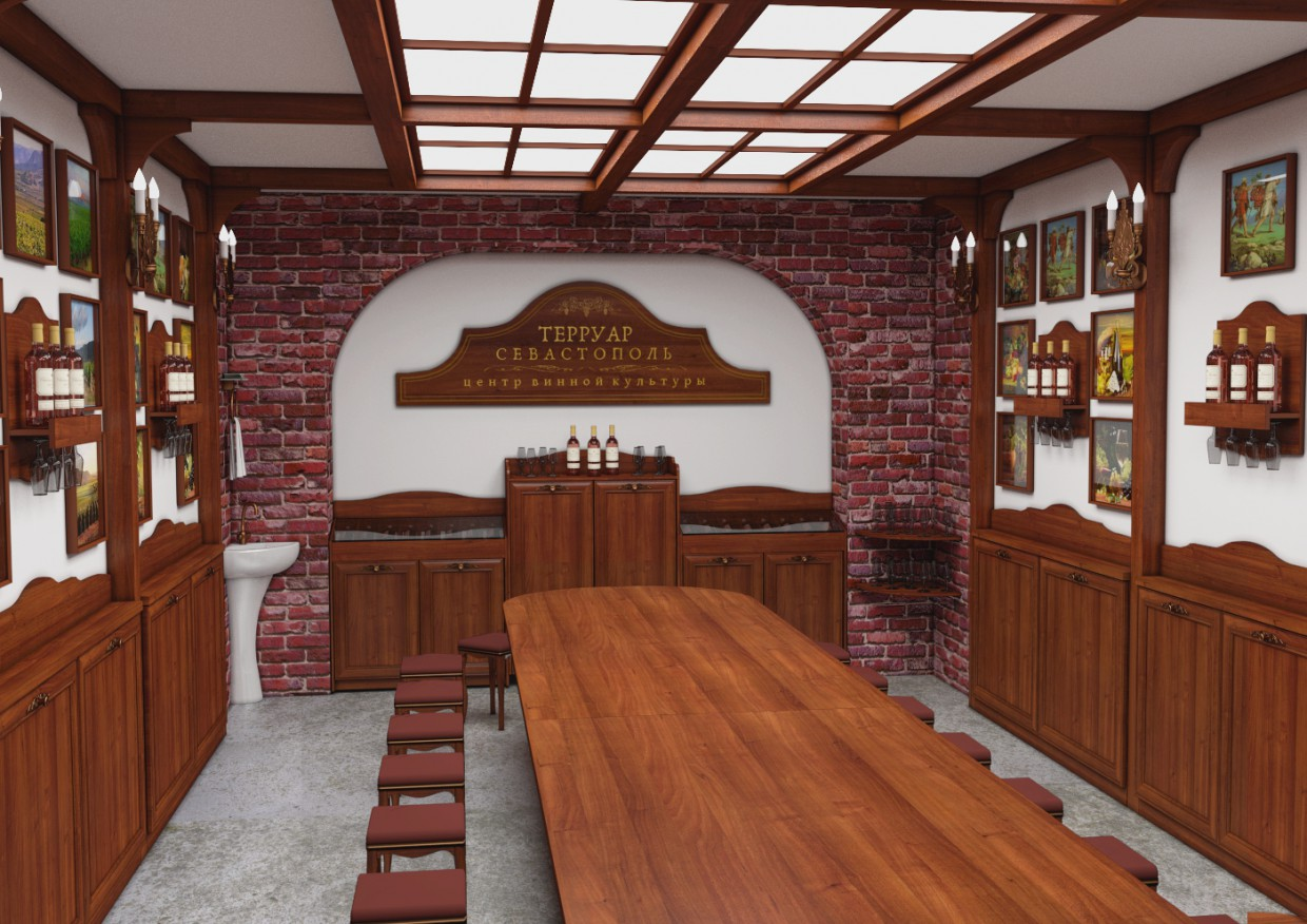 Center of wine culture, Sevastopol, degustacinnyj Hall in Blender cycles render image