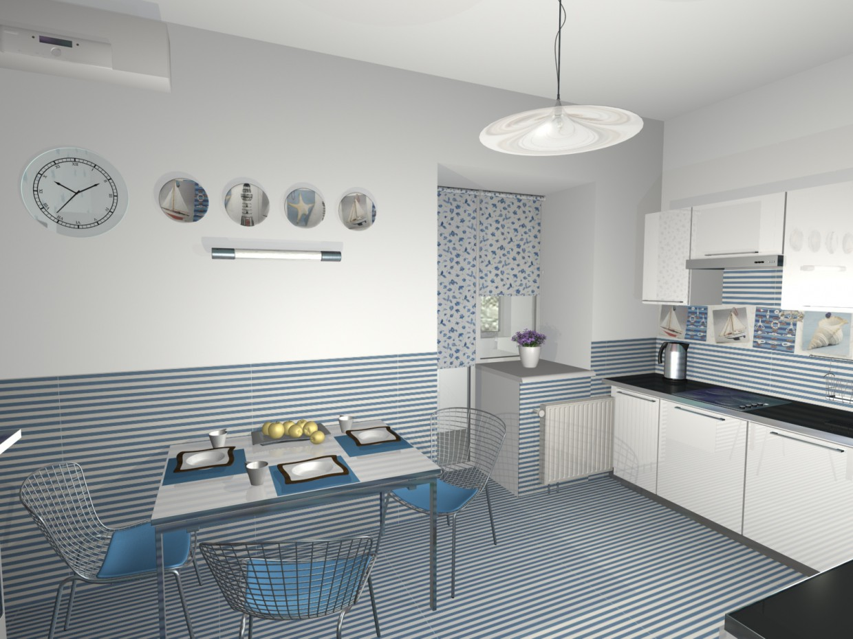kitchen and sea) in 3d max mental ray image