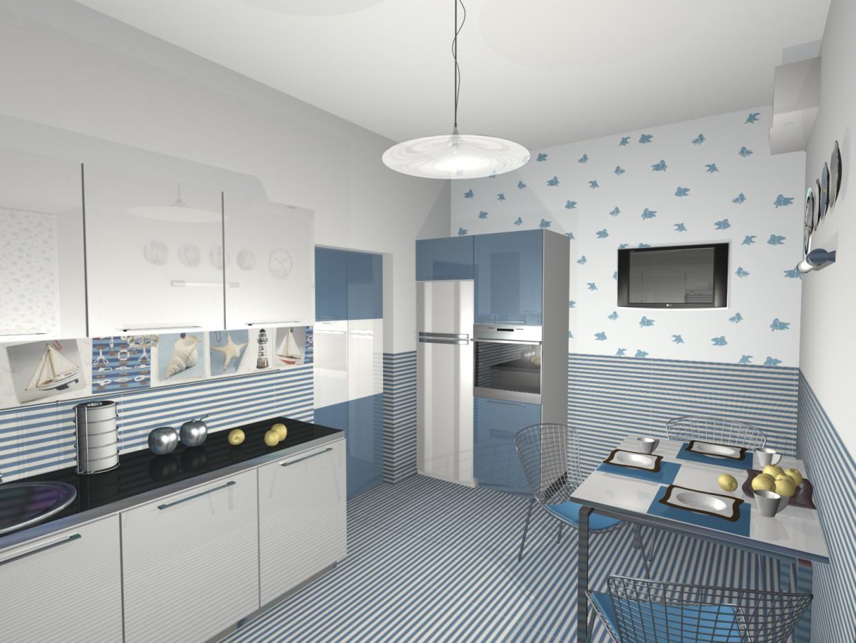 кухня и море) в 3d max mental ray изображение