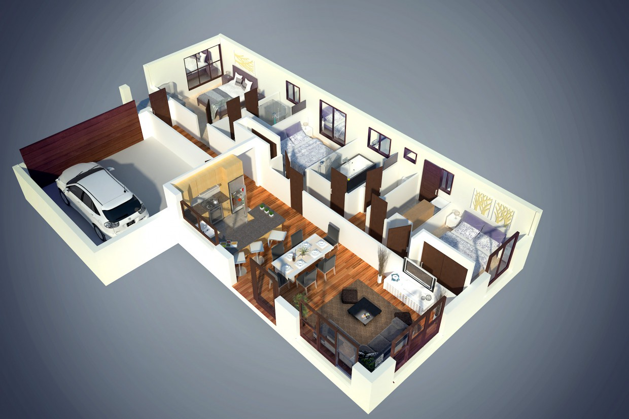 3D Floor plan in 3d max vray image