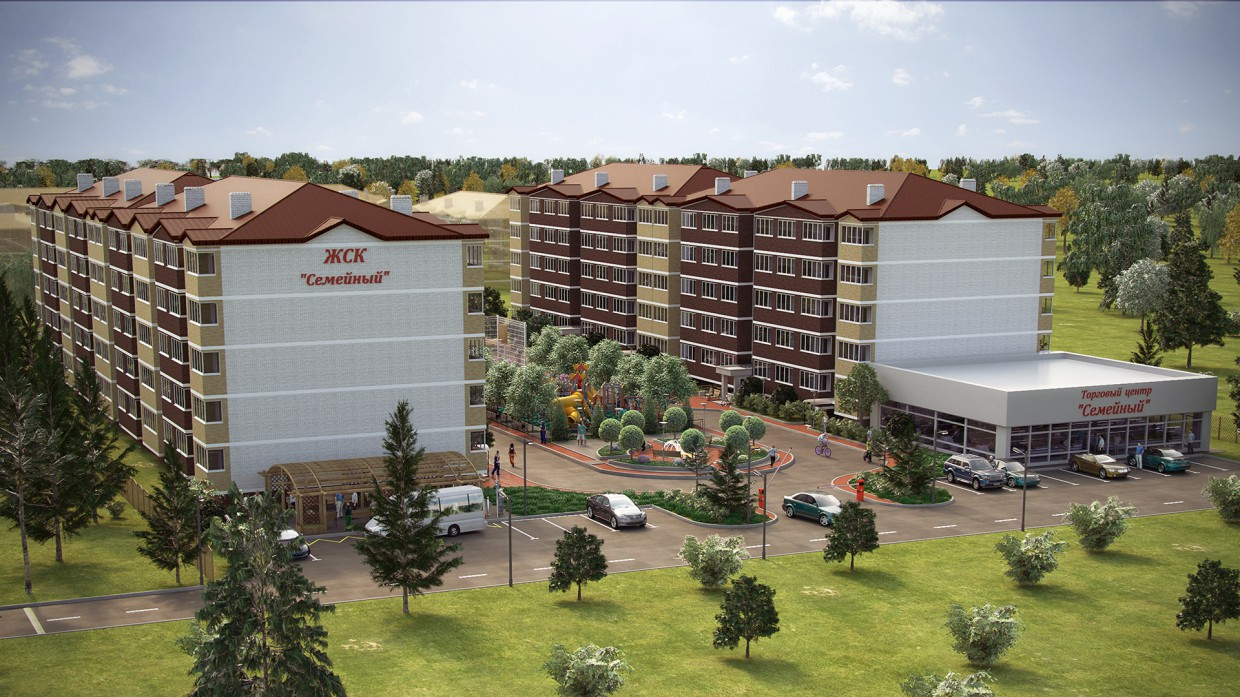 """HOUSING COOPERATIVE """"Family"""" in 3d max corona render image"""