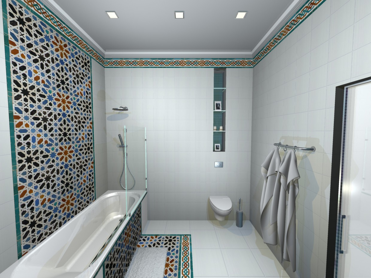 Bathroom in options (1) in 3d max mental ray image