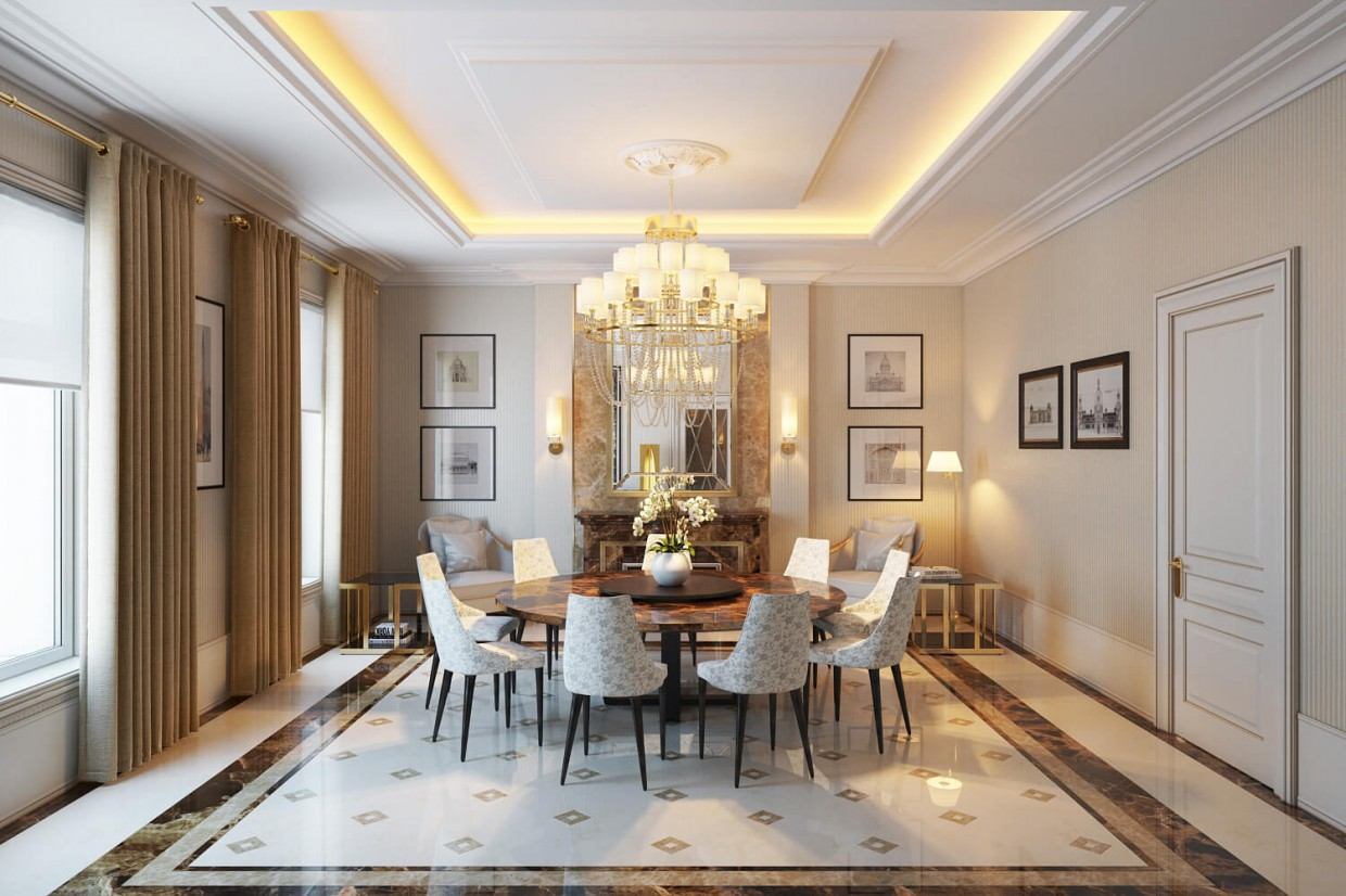 Interior Dining Room Design In The Style Of Classicism By
