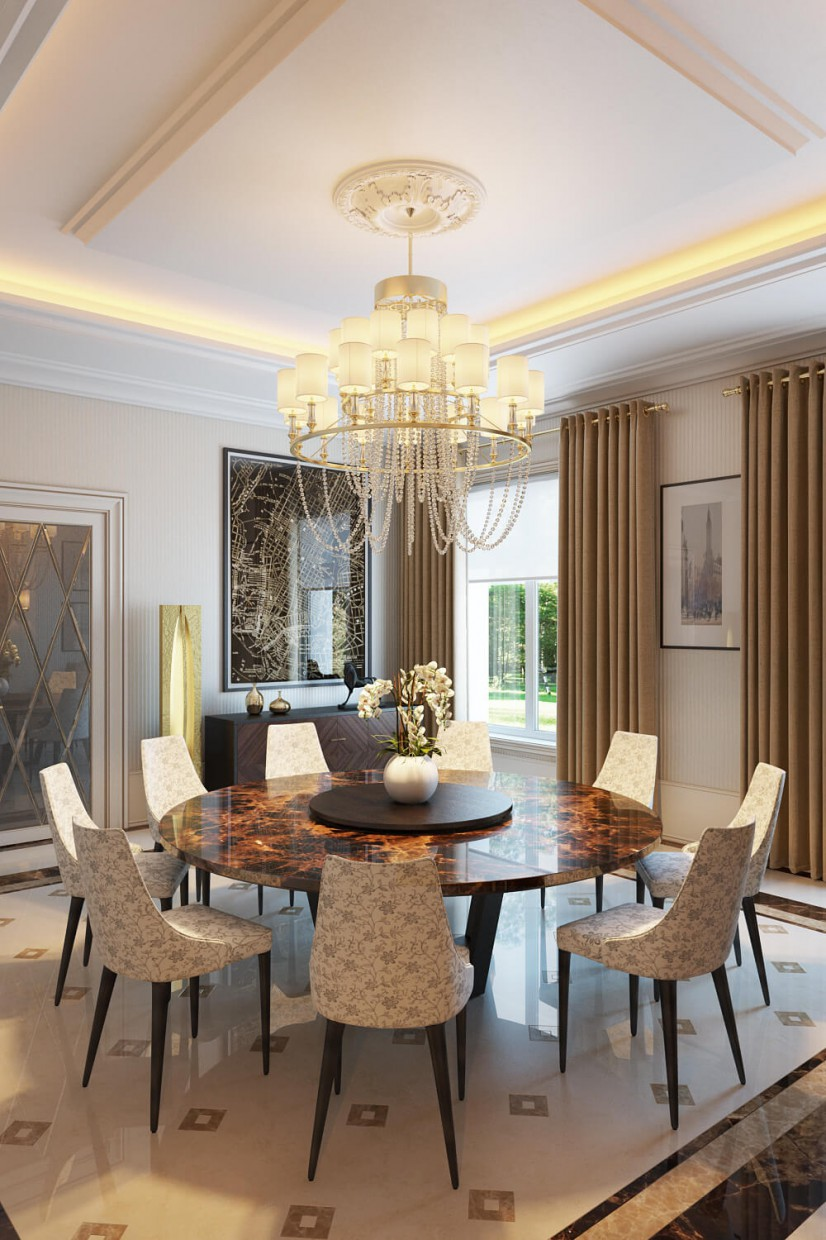 Dining room design style classicism design and visualization for Room design visualizer