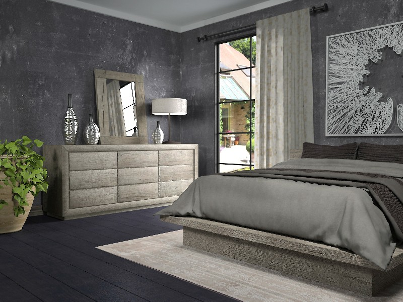 Bedroom with Reclaimed Russian Oak from RH in 3d max vray 2.5 image