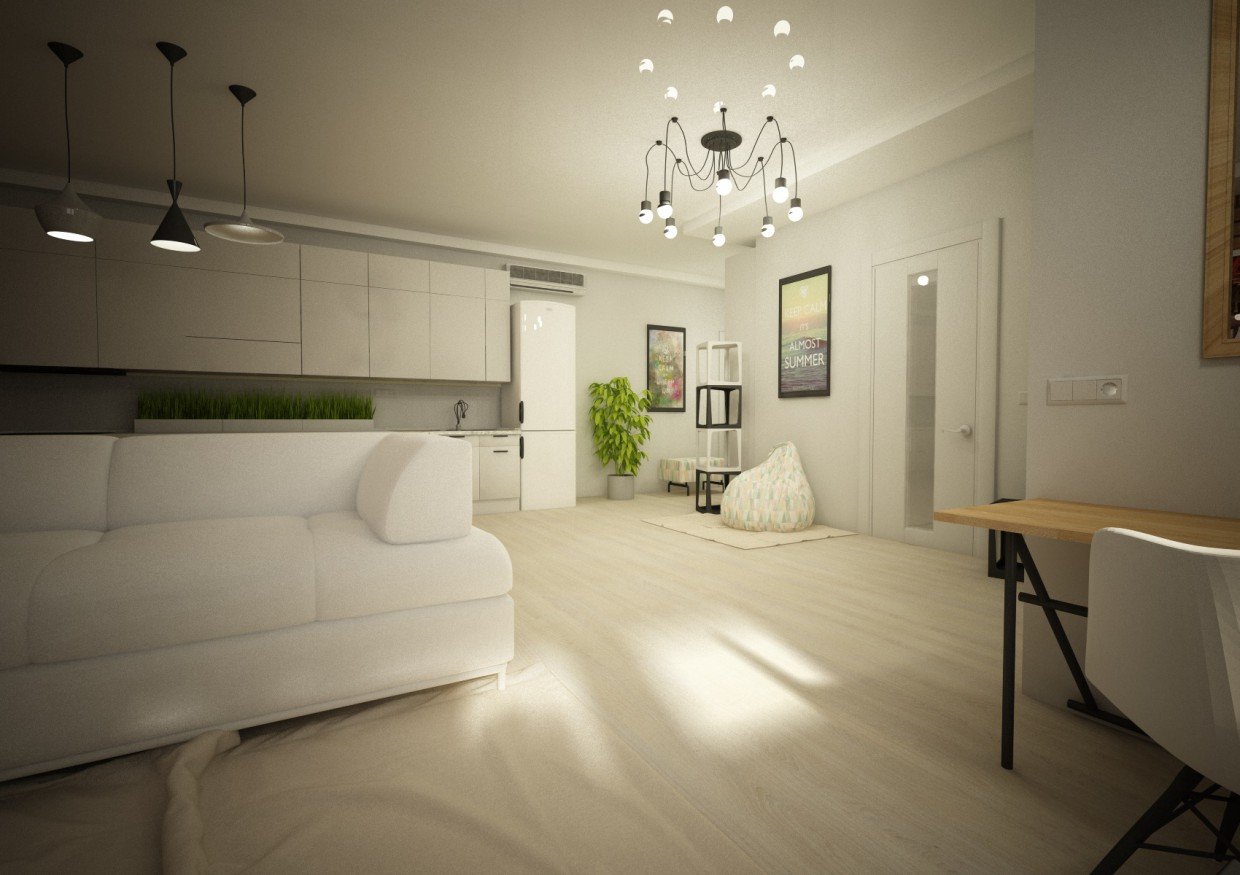 Apartment-Studio in Cinema 4d vray image