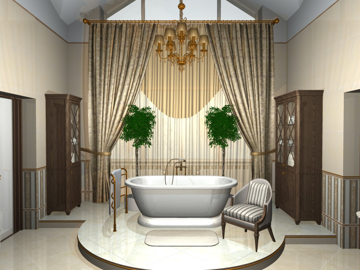 Indecently big bathroom in 3d max mental ray image