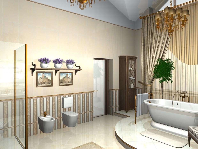 indecently big bathroom in 3d max mental ray image