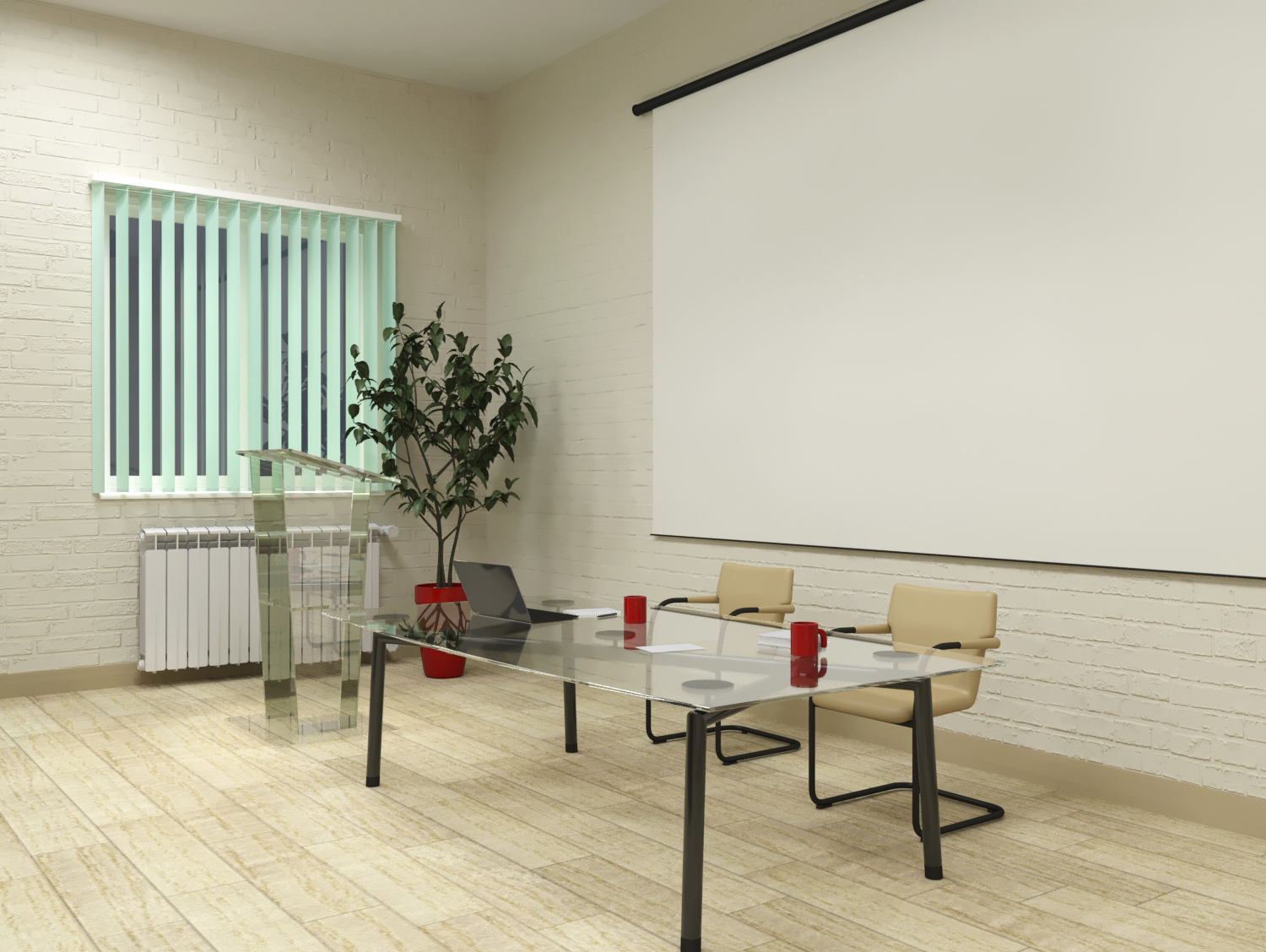 Reconstruction of the workshop for office premises. in 3d max corona render image