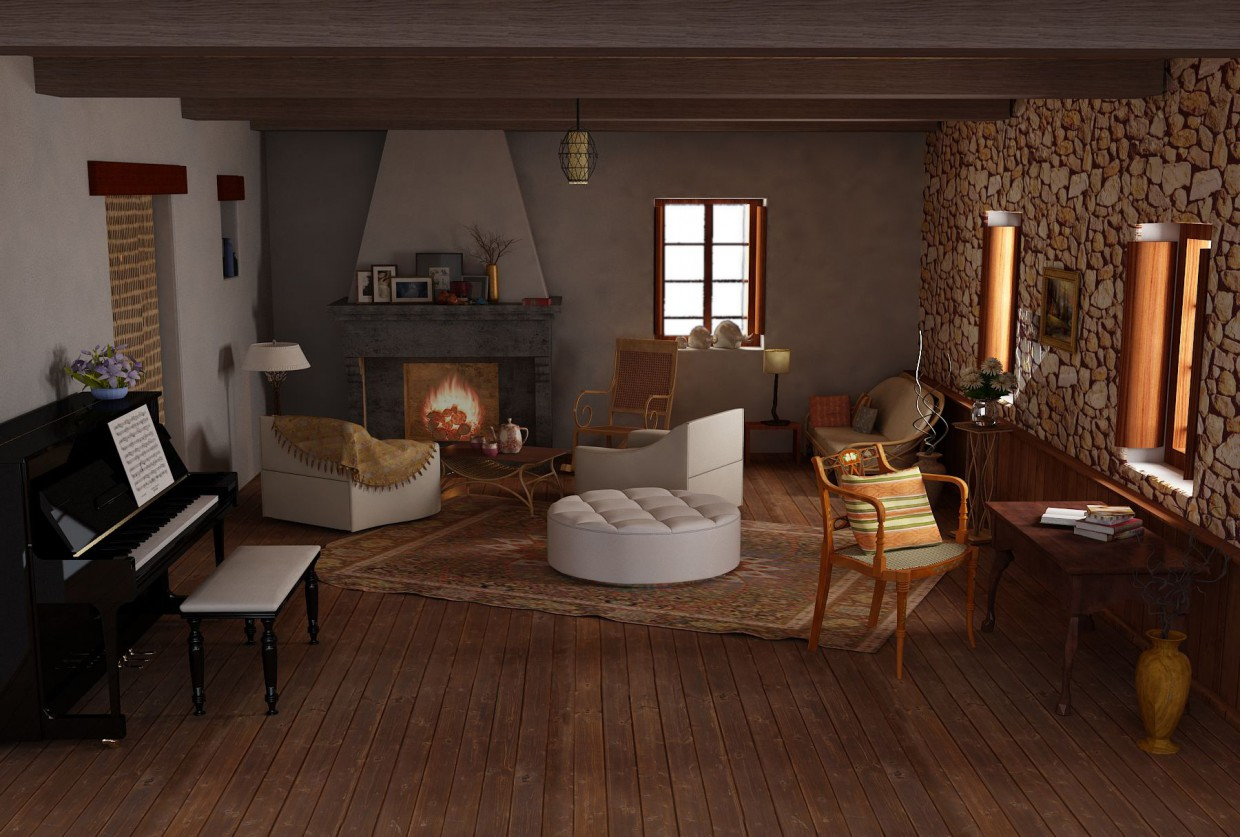 With fireplace in 3d max vray image
