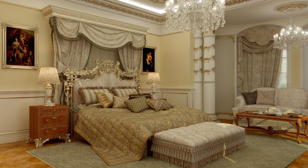 3d visualization of the project in the Baroque Bedroom 3d max, render vray of MOZZG