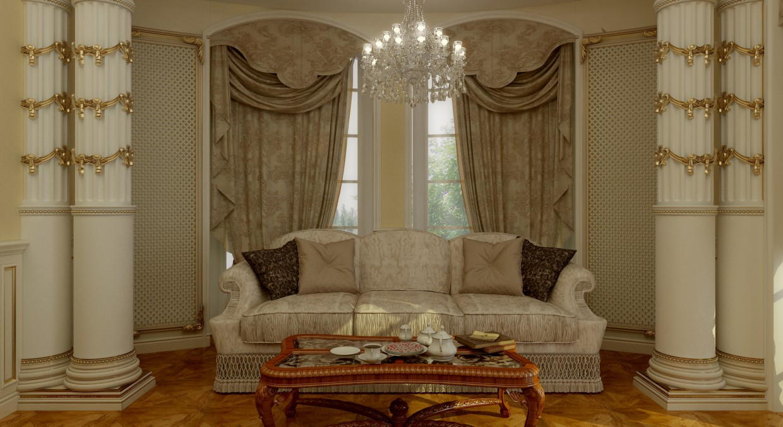 Спальня Барокко в 3d max vray изображение