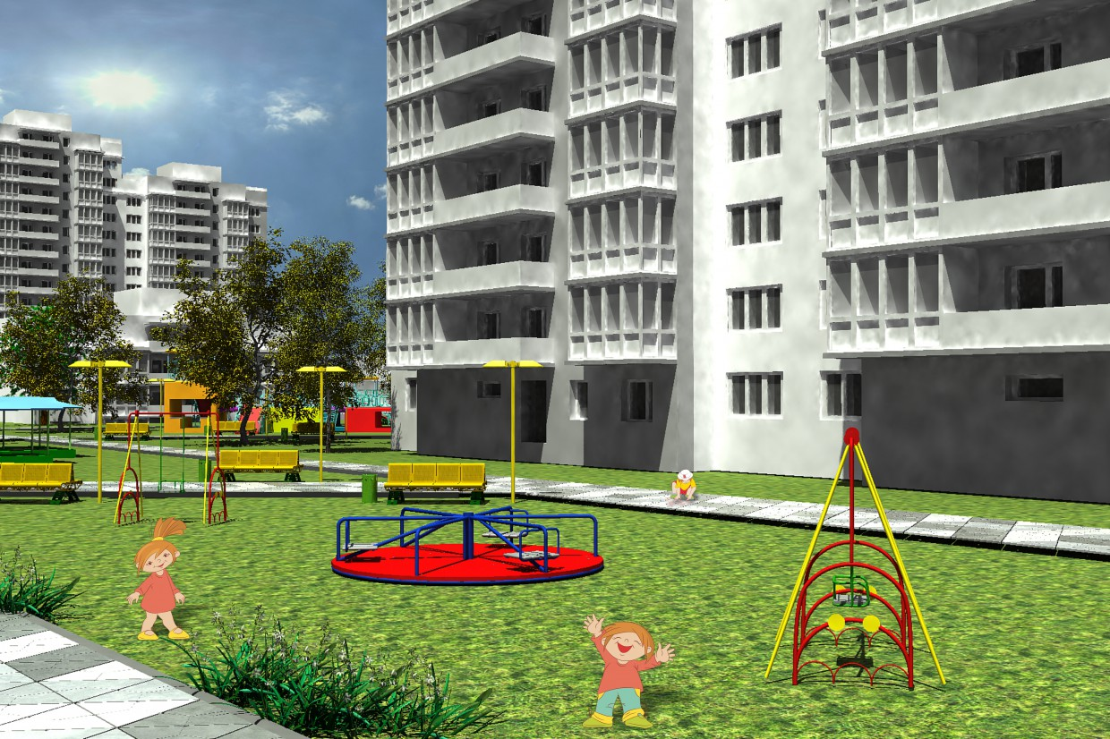 3d visualization of the project in the Children's playground 3d max, render vray of Дарья2112