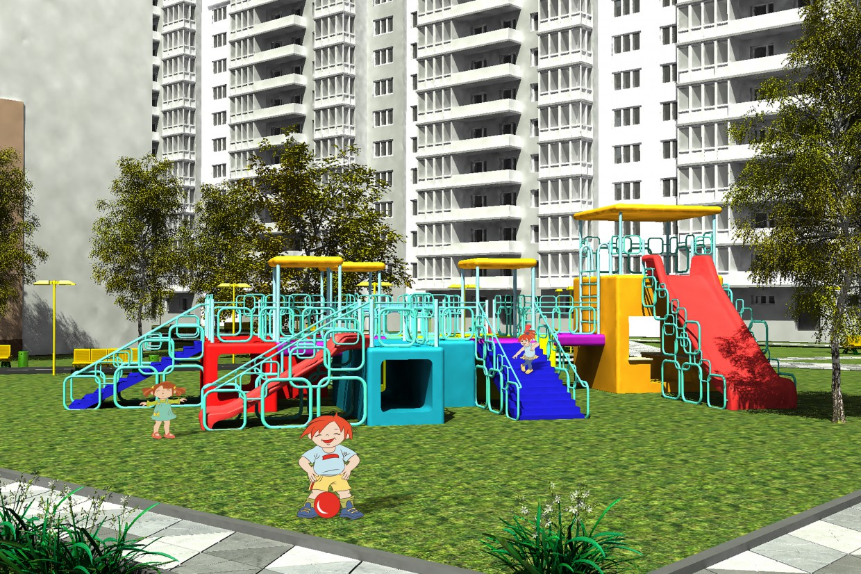 Children's playground in 3d max vray image