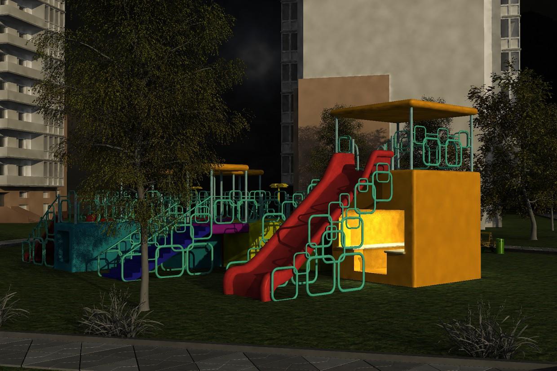 Детская площадка в 3d max vray изображение