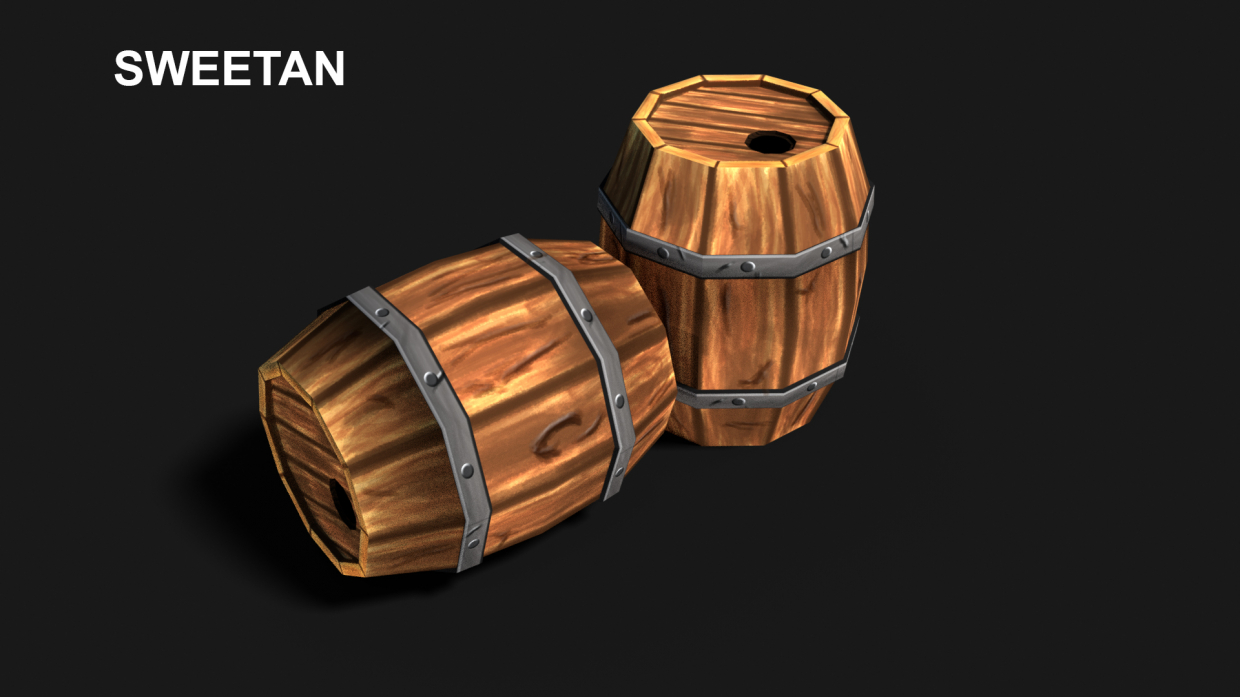 3D Barrel Model with texture in Blender cycles render image
