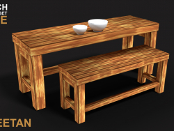 3D Bench Game asset using handpainted textures