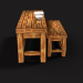 3D Bench Game asset using handpainted textures in Blender cycles render image