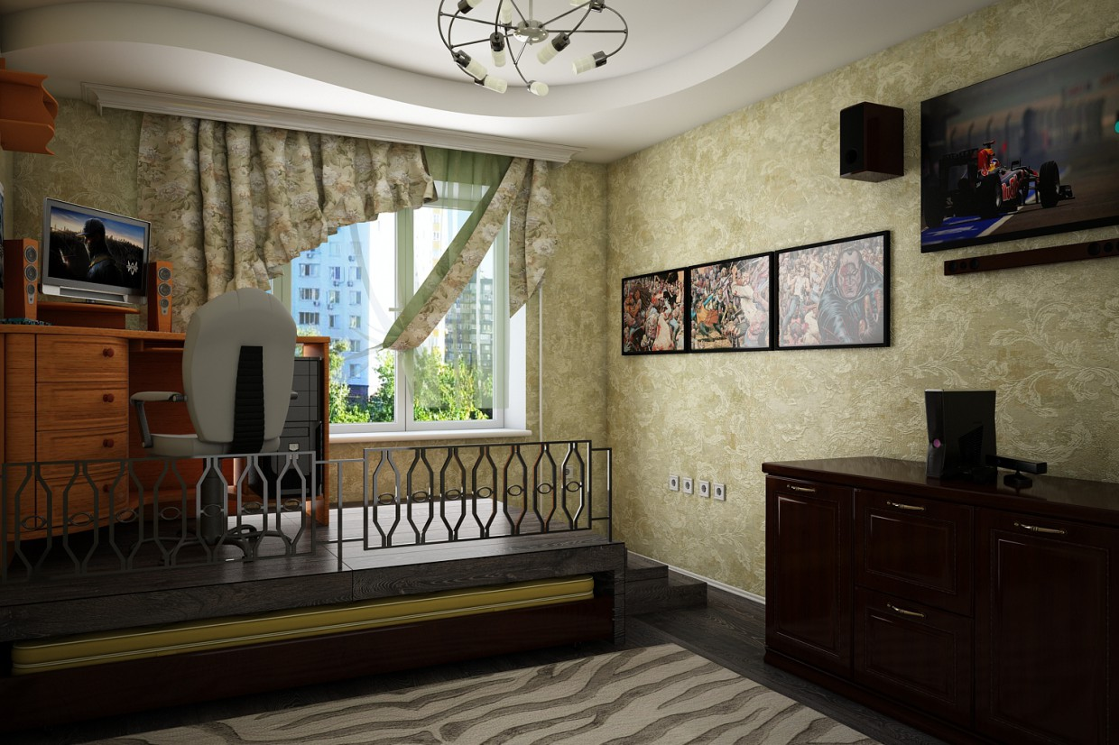 Room in odnushke in 3d max vray 3.0 image