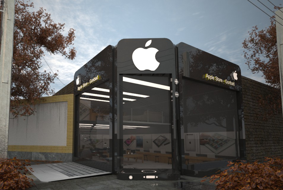 Apple Store in 3d max vray image