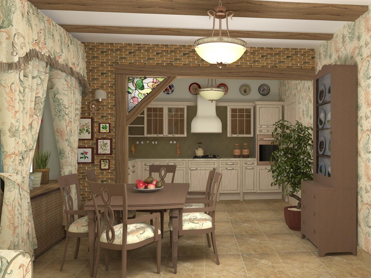 The living-dining room in a country house in 3d max vray image