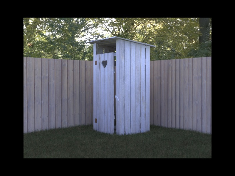 Old WC in a village in 3d max vray image