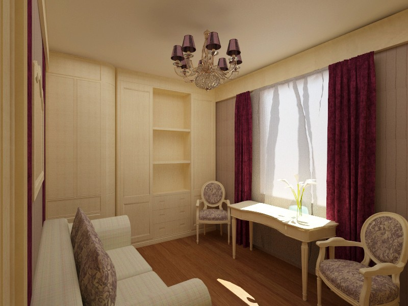 Office and a guest room in 3d max vray image