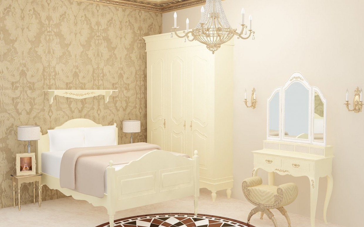 3d visualization of the project in the Classic cream&gold bedroom 3d max, render vray of Jenny888