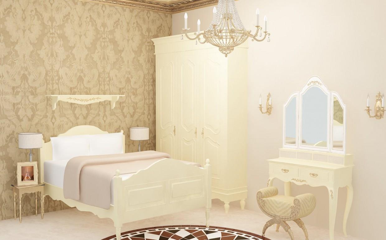 imagen de Clásico crema y oro dormitorio en 3d max vray