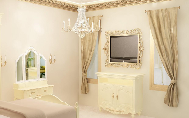Classic cream&gold bedroom в 3d max vray изображение
