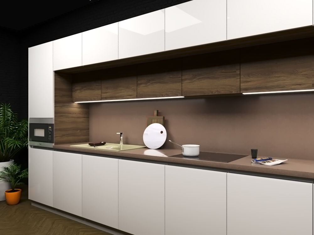Straight Kitchen in 3d max corona render image