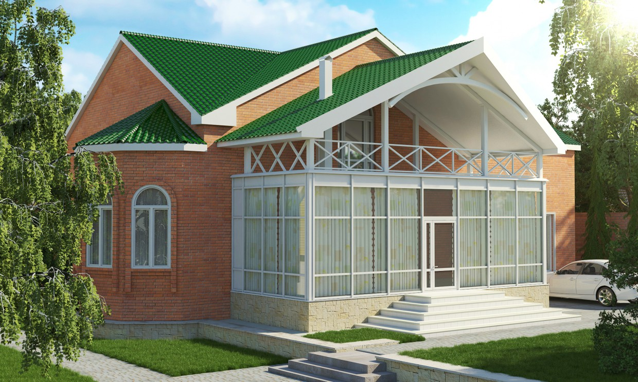An extension to an existing private home in 3d max vray image