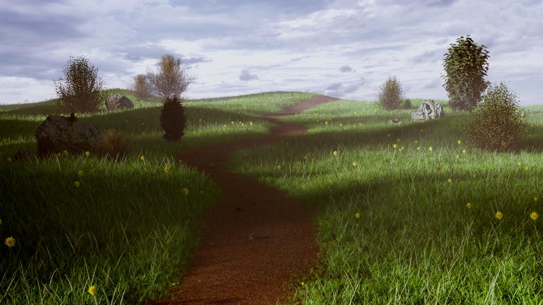 meadow in Blender cycles render image