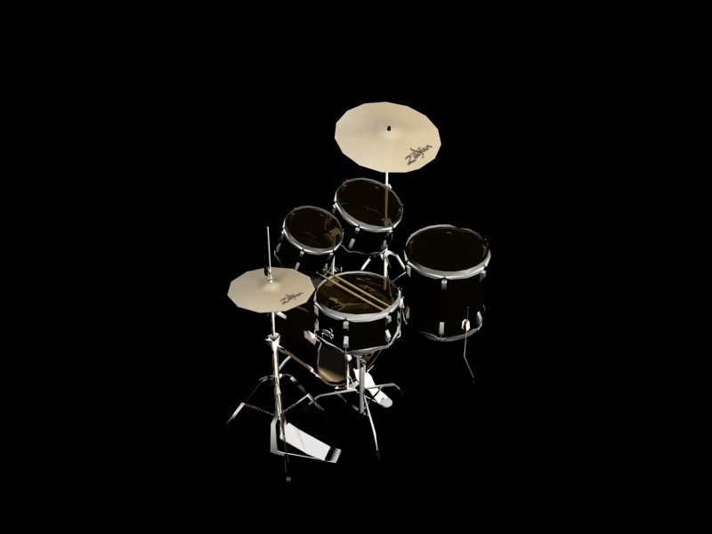 drum set in 3d max mental ray image