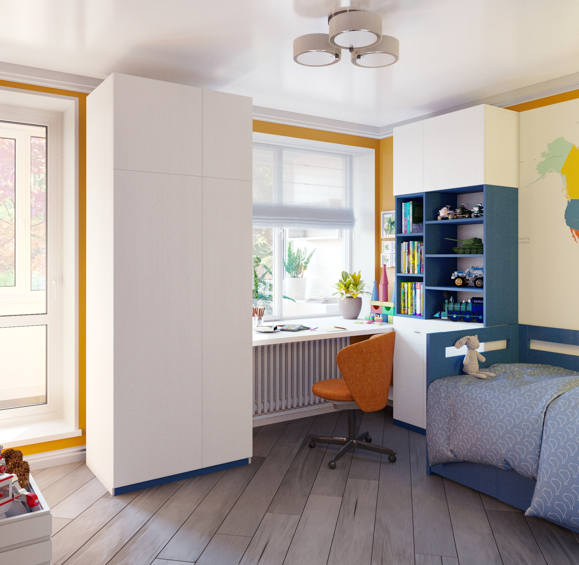 Child's room for a boy in 3d max corona render image