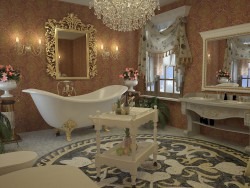 bathroom in the Empire style. 3Ds Max / Vray