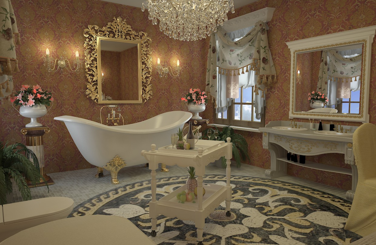3d visualization bathroom in the empire style 3ds max vray Empire bathrooms