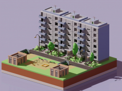 Russian district in isometric low poly style
