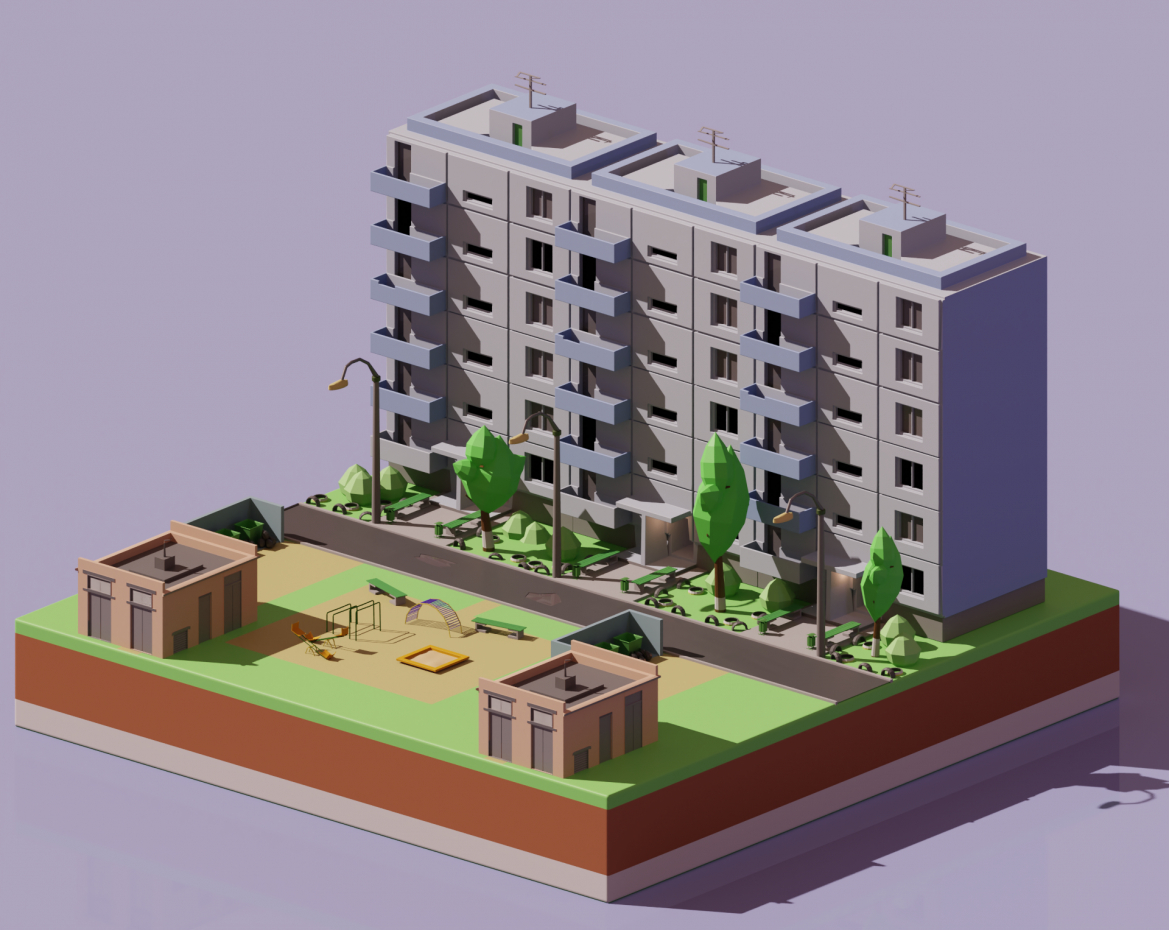Russian district in isometric low poly style in Blender cycles render image