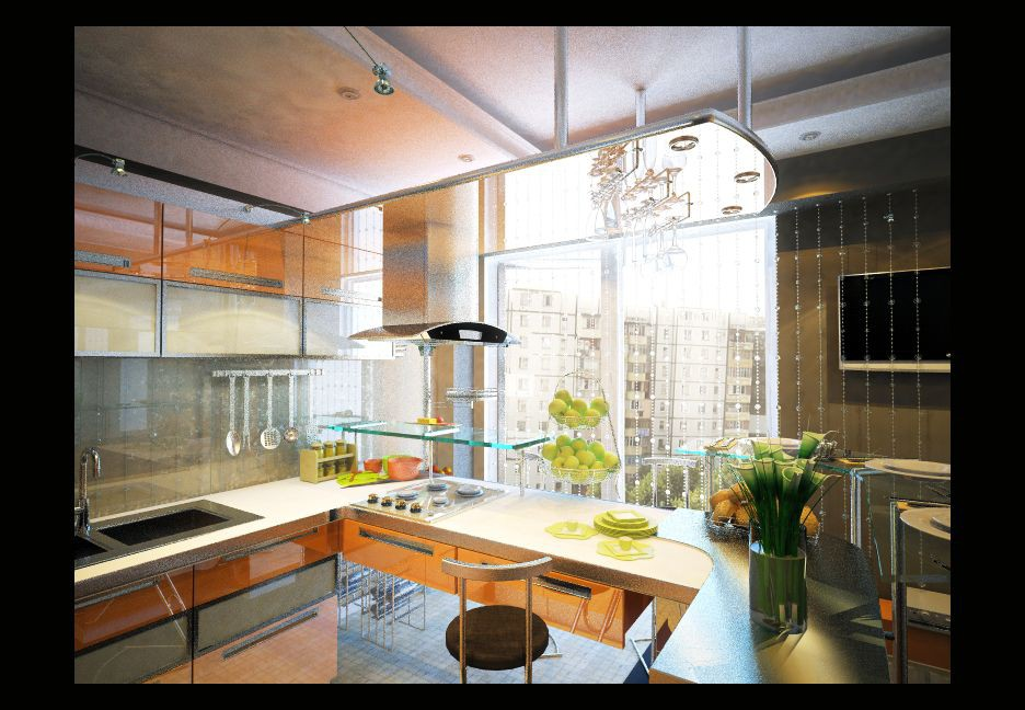 3d visualization of the project in the Kitchen 3d max, render vray of nashcar11